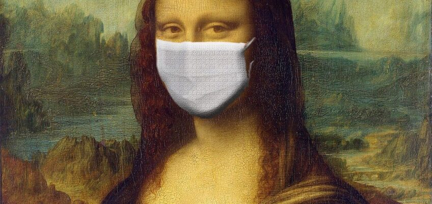 mona lisa with facemask